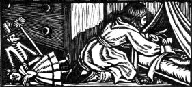 wood-engraving print: The Doll's Bed for Four Tales from Hans Andersen